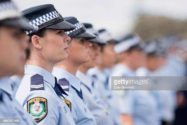Over 500 police women stand at attention during a parade at the Sydney Opera House on September 3 2015 in Sydney Australia The parade celebrated 100...
