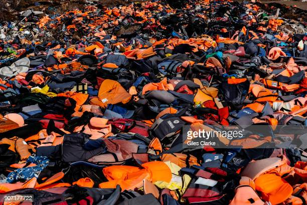 Over 500000 refugees landed on Lesbos Greece in 2015 their discarded life jackets have been gathered in an open landfill