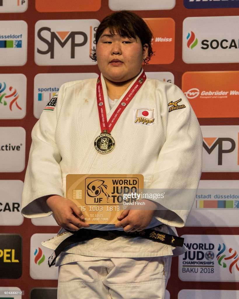 Over 78kg gold medallist, Sarah Asahina of Japan during the 2018 Dusseldorf Grand Slam (23-25 February) at the ISS Dome on on February 25, 2018 Dusseldorf, Germany.