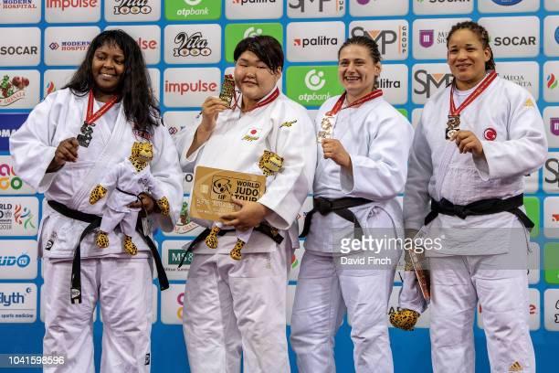 Over 78kg medallists LR Silver Idalys Ortiz Gold Sarah Asahina Bronzes Larisa Ceric and Kayra Sayit during day seven of the 2018 Judo World...