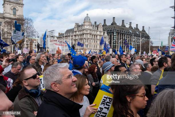 Over a million people gather together in London Parliament's Square protesting against the Tory's Government and Brexit on 23rd March 2019 in London,...