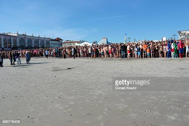 Over a thousand spectators watched more than 500 brave participants as they prepared to run into the Atlantic Ocean during First Day At The Beach on...