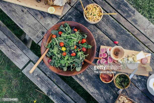 over head shot of fresh food on picnic table - picnic table stock pictures, royalty-free photos & images