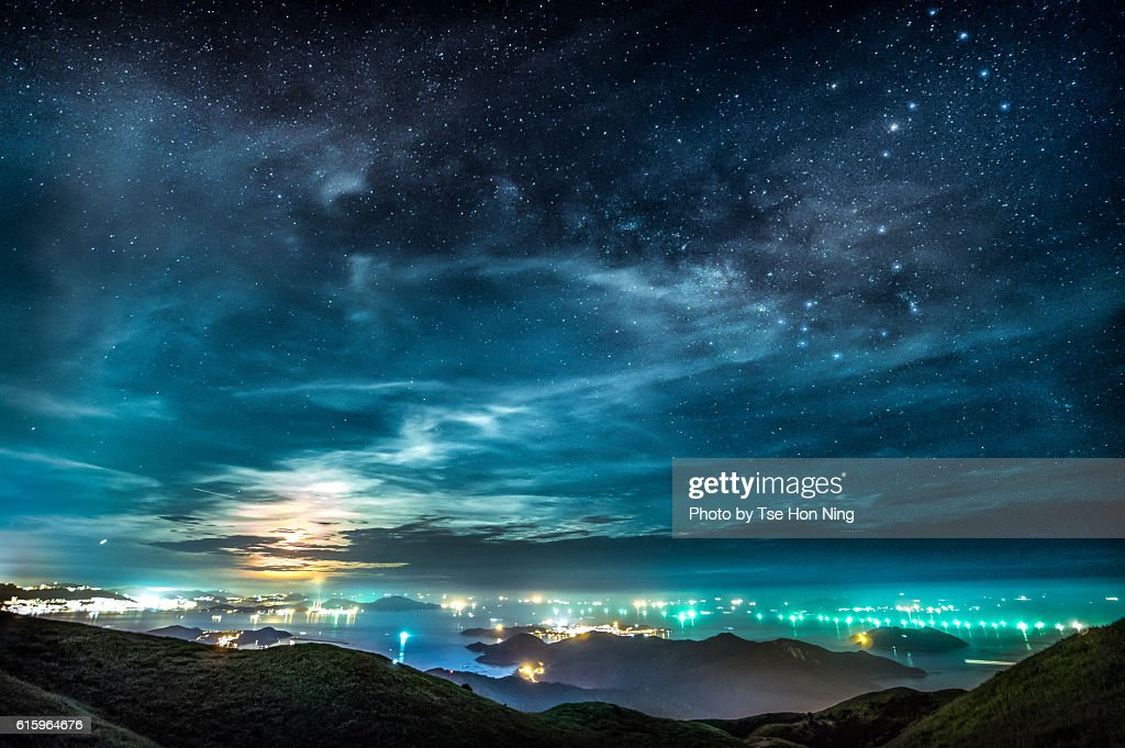 SCORPIUS AND THE MOON over hong kong cityscape : Stock Photo