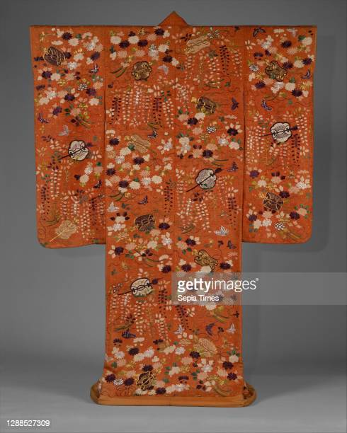Over Robe with Fans and Flowers, Edo period , second half of the 18th–first half of the 19th century, Japan, Silk and metallic-thread embroidery on...