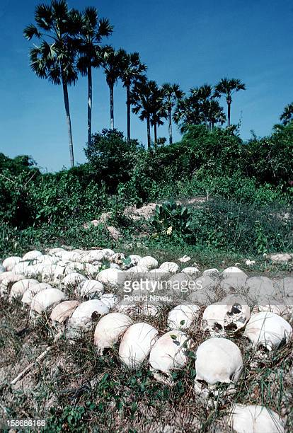 Over ten thousand Cambodian skulls that have been unearthed from mass graves and scattered around the area of Chong Ek for further investigation...