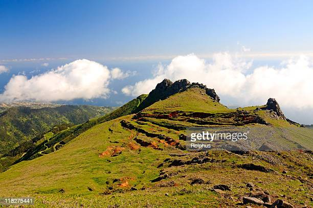over the clouds of madeira encumeada spring - sonnig stock pictures, royalty-free photos & images