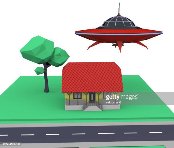 ufo over the house, ufo, 3d concept - military invasion stock pictures, royalty-free photos & images