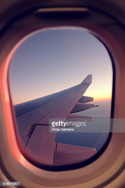 over the ocean - aircraft wing stock pictures, royalty-free photos & images