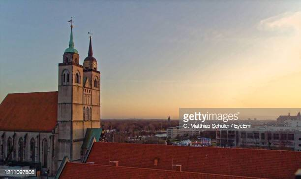 over the roofs of magdeburg - saxony anhalt stock pictures, royalty-free photos & images