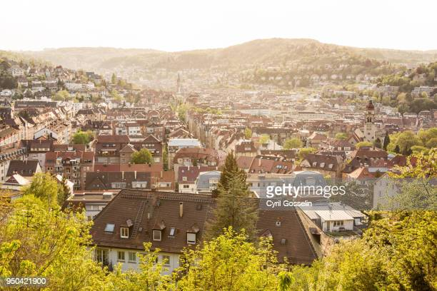 over the roofs of stuttgart - stuttgart stock pictures, royalty-free photos & images