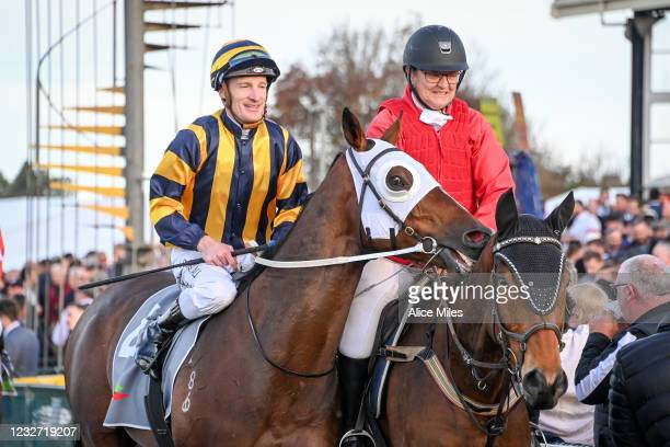 Over The Sky ridden by Mark Zahra returns to scale after winning the No Fuss Event Hire BM64 Handicap at Warrnambool Racecourse on May 06, 2021 in...
