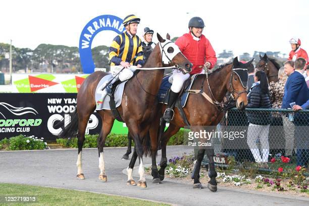 Over The Sky ridden by Mark Zahra returns to the mounting yard after winning the No Fuss Event Hire BM64 Handicap at Warrnambool Racecourse on May...
