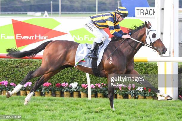 Over The Sky ridden by Mark Zahra wins the No Fuss Event Hire BM64 Handicap at Warrnambool Racecourse on May 06, 2021 in Warrnambool, Australia.