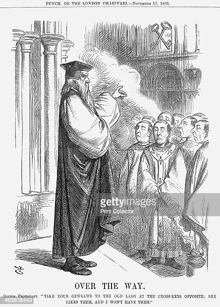 'Over The Way', 1866. The representative of the Protestant Church tells the Catholic priests, all wearing very superior and sanctimonious...