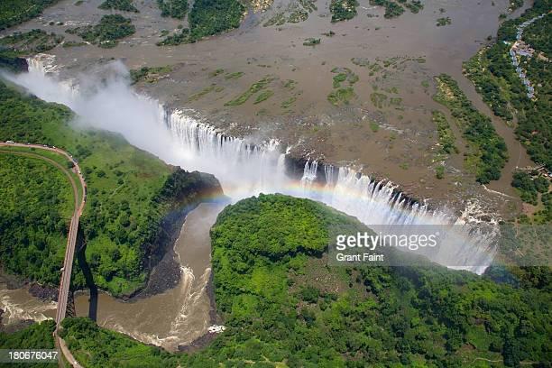 Over view of huge waterfalls.