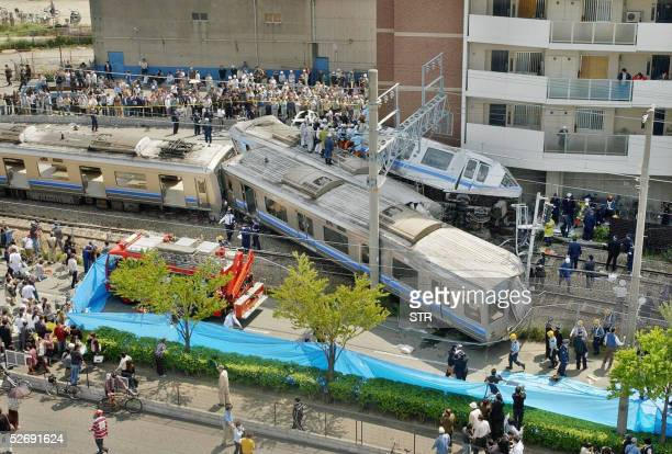 Over view of the train crashed site in Amagasaki in Hyogo prefecture 25 April 2005 At least three people were killed and 140 others were injured 25...