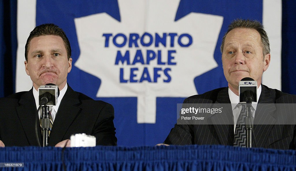 Images from the Toronto Maple Leafs Media Conference held at the ACC Wednesday afternoon with Richard Peddie, MLSE, Presidentand Chief Executive Officer, right, and John Ferguson, General Manager, Toronto Maple Leafs, left. None of whom were too happy discussing today's announcement that the NHL season is officially cancelled. Peddie says MLSE will still work on a business plan for next season.(Photo by Peter Power/The Toronto Star)pmp