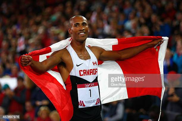 Overall Gold medalist Damian Warner of Canada celebrates after the Men's Decathlon 1500 metres at Hampden Park during day six of the Glasgow 2014...