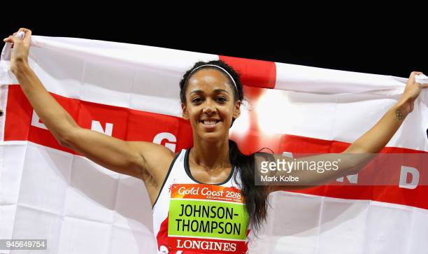 Overall gold medalist Katarina JohnsonThompson of England celebrates after the Women's Heptathlon 800 metres during athletics on day nine of the Gold...