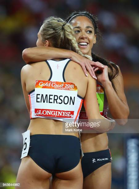 Overall gold medalist Katarina JohnsonThompson of England embraces bronze medalist Niamh Emerson of England after the Women's Heptathlon 800 metres...