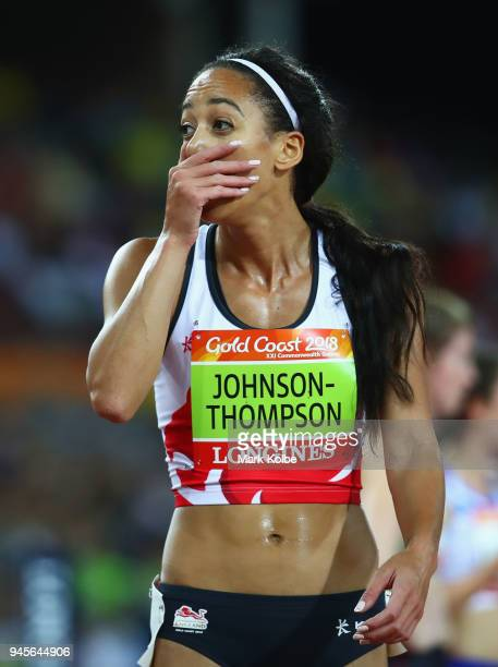 Overall gold medalist Katarina Johnson-Thompson of England reacts after the Women's Heptathlon 800 metres during athletics on day nine of the Gold...
