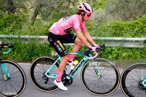 Overall leader and Pink Jersey holder Team Jumbo rider Slovenia's Primoz Roglic ride during the stage four of the 102nd Giro d'Italia - Tour of Italy...