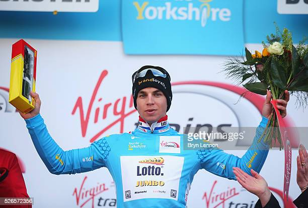 Overall leader Dylan Groenewegen of Team Lotto NL-Jumbo and the Netherlands poses after the second stage of the 2016 Tour de Yorkshire between Otley...