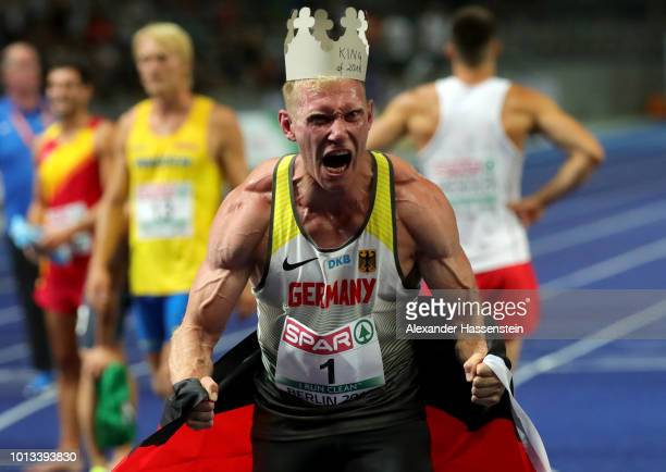 Overall Men's Decathalon Gold winner Arthur Abele of Germany celebrates after the last event the 1500m during day two of the 24th European Athletics...