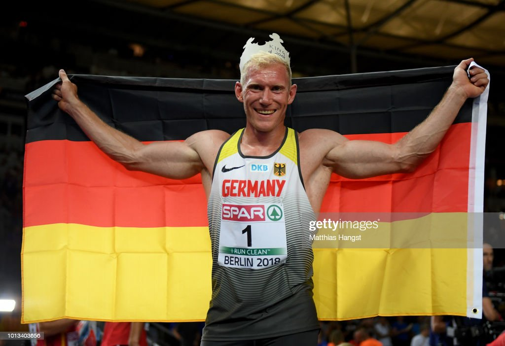 Overall Men's Decathalon Gold winner, Arthur Abele of Germany, celebrates after the last event, the 1500m, during day two of the 24th European Athletics Championships at Olympiastadion on August 8, 2018 in Berlin, Germany. This event forms part of the first multi-sport European Championships.