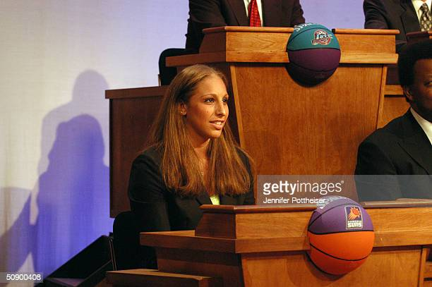 Overall number 1 pick in the 2004 WNBA draft Diana Taurasi of the Phoenix Mercury attends the 2004 NBA Draft Lottery representing the Phoenix Suns on...