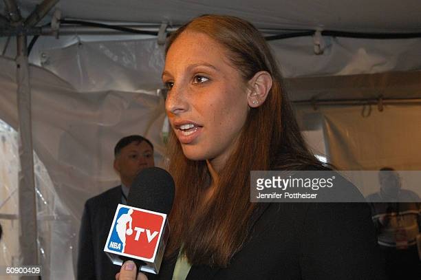 Overall number 1 pick in the 2004 WNBA draft Diana Taurasi of the Phoenix Mercury speaks to NBATV prior to the 2004 NBA draft lottery on May 26 2004...