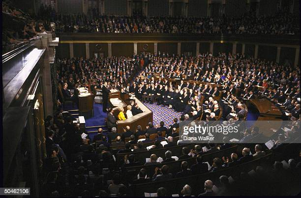 Overall of Pres Reagan delivering State of Union address