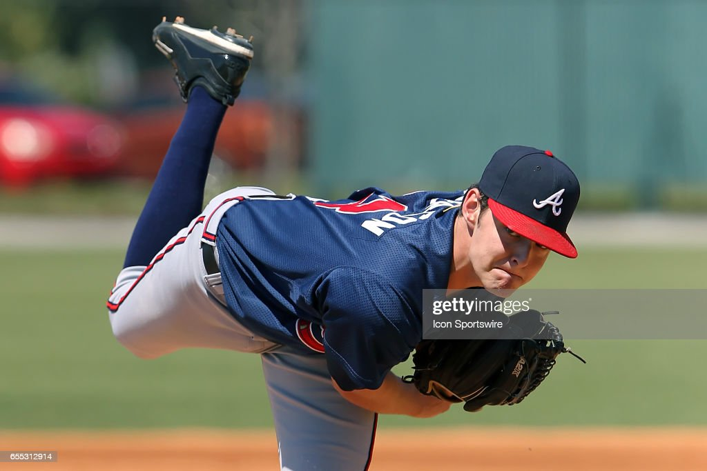 2016 #3 overall pick Ian Anderson of the Braves delivers a pitch to the plate during the minor league spring training game between the Atlanta Braves and the Detroit Tigers on March 18, 2017 at Tigertown in Lakeland, Florida.