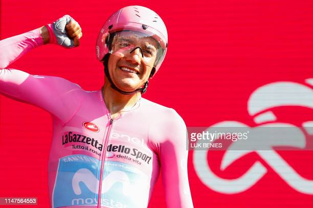 Overall race winner Team Movistar rider Ecuador's Richard Carapaz celebrates after competing in stage twentyone the final stage of the 102nd Giro...