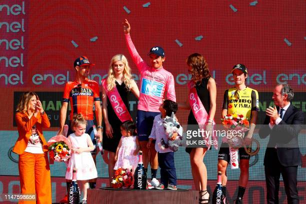 Overall race winner Team Movistar rider Ecuador's Richard Carapaz overall secondplaced Team Bahrain rider Italy's Vincenzo Nibali and overall...