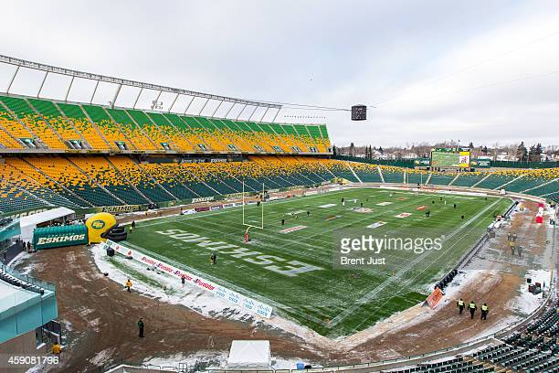 Overall shot of Commonwealth Stadium before the CFL Western SemiFinal game between the Saskatchewan Roughriders and Edmonton Eskimos at Commonwealth...