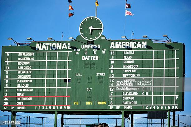 A overall shot of the scoreboard showing the postponement of the game in Baltimore because of riots before the game between the Chicago Cubs and the...