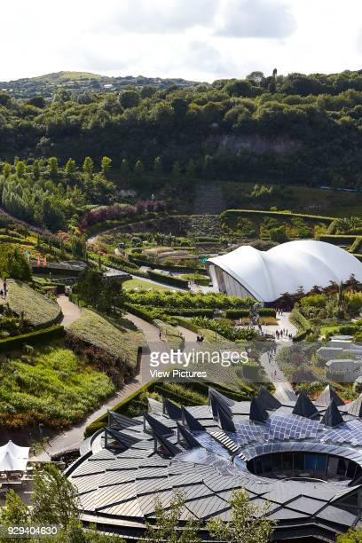 Overall view across approach with roofline and domes Eden Project Bodelva United Kingdom Architect Grimshaw 2016