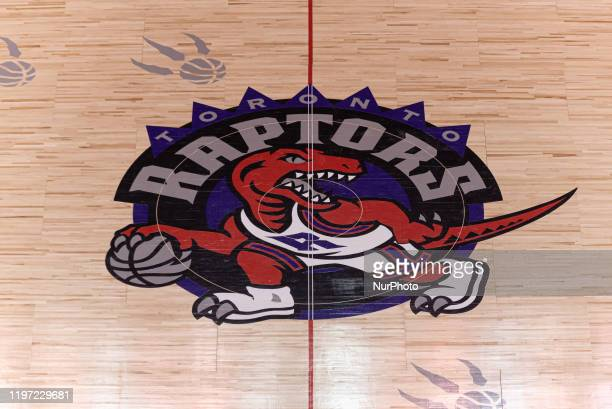 Overall view at Scotiabank arena court with retro logo of Toronto Raptors during the Toronto Raptors vs Atlanta Hawks NBA regular season game at...