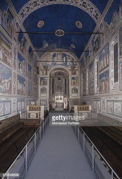 'Overall view by Giotto 13031305 14th Century fresco Italy Veneto Padua Scrovegni Chapel After restoration picture Whole artwork view View of the...