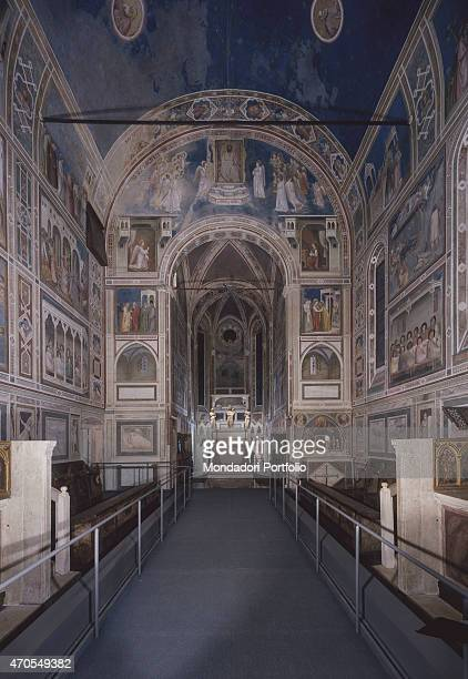 Overall view by Giotto 13031305 14th Century fresco Italy Veneto Padua Scrovegni Chapel After restoration picture Whole artwork view View of the...