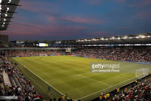 Overall view Children's Mercy Park during a 2019 CONCACAF Gold Cup group D match between the United States and Panama at Children's Mercy Park on...