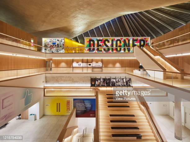 Overall view in multi-level atrium. Indigo; A Cultural Iconography at Design Museum London, London, United Kingdom. Architect: Stellar Works, 2017..