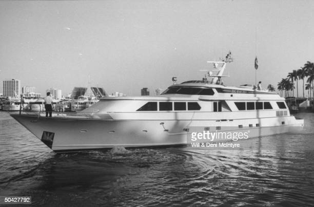 Overall view of 110 ft customdesigned yacht Big Bad John owned by C/W singer businessman Jimmy Dean