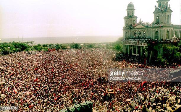 Overall view of celebrations in Managua marking the 14th anniversary of the Sandinista Revolution 19 July 1993