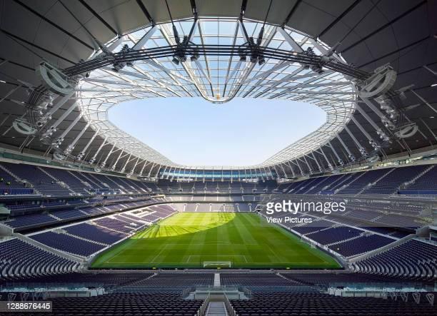 Overall view of empty stadium looking nirth. The New Tottenham Hotspur Stadium, London, United Kingdom. Architect: Populous, 2019.