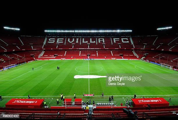 Overall view of Estadio Ramon Sanchez Pizjuan ahead of the La Liga match between Sevilla FC and Real Madrid CF at Estadio Ramon Sanchez Pizjuan on...