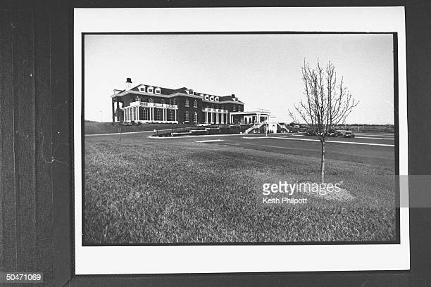 Overall view of large building at Terradyne complex that served as HQ for church builder Roe Messner a friend business associate of PTL leader Jim...