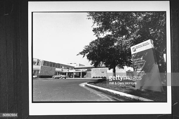 Overall view of main entrance driveway sign for Kershaw County Memorial Hospital where the victims of the Amtrak Silver Star train wreck were rushed...